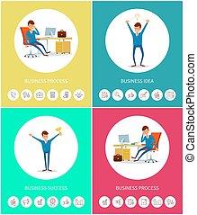 idea, postęp, powodzenie, handlowe ikony