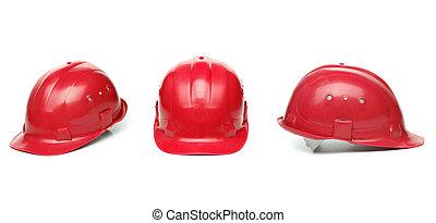 identyczny, twardy, trzy, czerwony, hat.