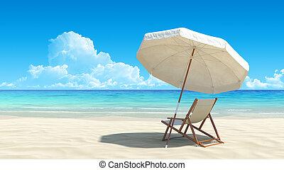 idylliczny, parasol, tropikalny, piasek, krzesło, plaża