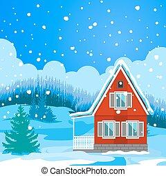 idylliczny, zima krajobraz