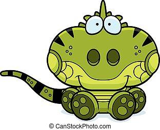 iguana, rysunek, posiedzenie