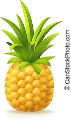 ikona, ananas, rysunek, owoc, emoji