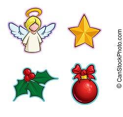 ikona, -, anioł, komplet, ostrokrzew, gwiazda, piłka, boże narodzenie
