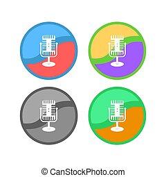 ikona, białe tło, retro, komplet, odizolowany, mikrofon
