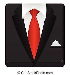 ikona, człowiek, garnitur