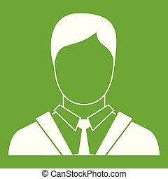 ikona, człowiek, zieleń handlowa, garnitur