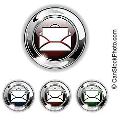 ikona, e-poczta, wektor, illustr, guzik