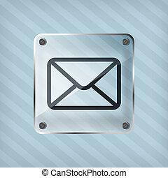 ikona, email, guzik