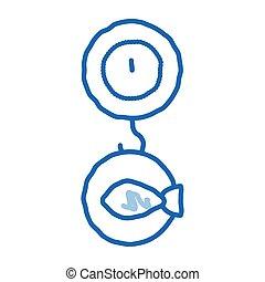 ikona, fish, ciężar, doodle, pociągnięty, ilustracja, ręka