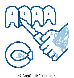 ikona, fish, doodle, pociągnięty, ilustracja, ręka, cięcie