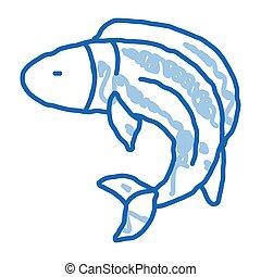 ikona, fish, doodle, pociągnięty, ilustracja, ręka
