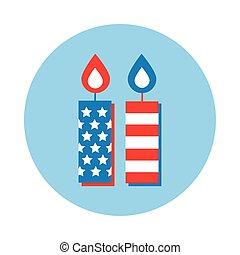 ikona, kloc, bandera, styl, świece, usa