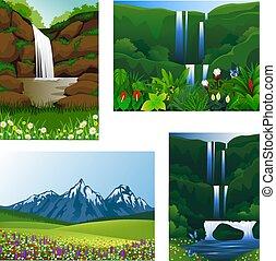 ikona, komplet, ułożyć, piękny, krajobraz