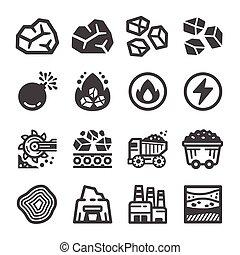 ikona, komplet, węgiel