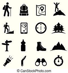 ikona, komplet, wolny czas, hiking, rozrywka