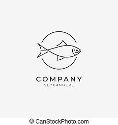 ikona, kreska, logo, sztuka, fish