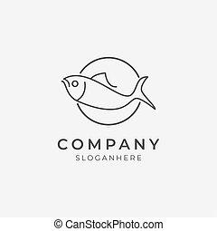 ikona, kreska, symbol, logo, sztuka, fish
