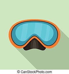 ikona, nurkowanie, styl, maska, płaski