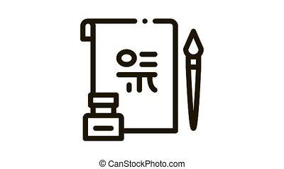ikona, ożywienie, koreański, hieroglif