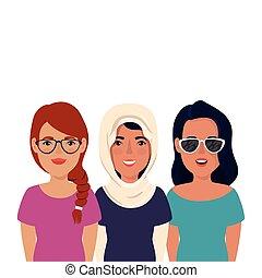 ikona, odizolowany, grupa, piękni kobiety