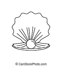 ikona, perła, styl, szkic, morze