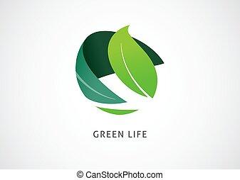 ikona, pojęcie, logo, zielony, świat, projektować