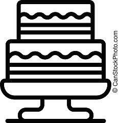 ikona, poziom, dwa, ciastko, styl, szkic, stać