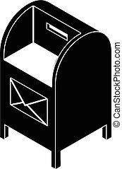 ikona, prosty, postbox, uliczny styl