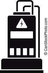 ikona, prosty, styl, dostarczcie energii elektrycznej generator