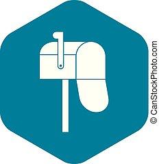 ikona, prosty, styl, otwarty, skrzynka pocztowa