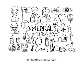 ikona, ręka, doodle, handlowy