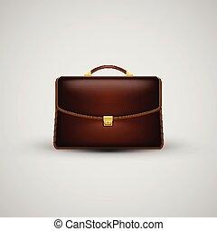 ikona, realistyczny, wektor, walizka