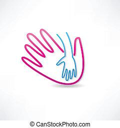 ikona, rodzicielski, ręka