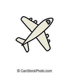 ikona, samolot, doodle, kreska, wektor, kolor, ilustracja