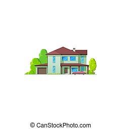 ikona, stan, chata, dom dom, prawdziwy, bungalow