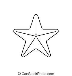 ikona, styl, gwiazda, szkic, morze