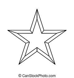 ikona, styl, gwiazda, szkic