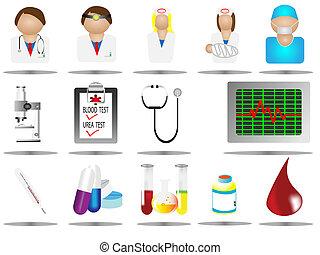 ikona, szpital, troska, medyczne ikony