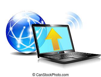 ikona, upload, chmura, internet