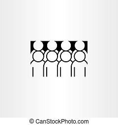 ikona, wektor, grupa, clipart, ludzie