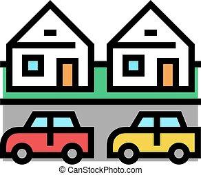 ikona, wektor, ilustracja, domy, motel, kolor
