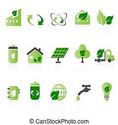 ikona, zielony, zestawy