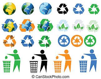 ikony, środowiskowy, recycling