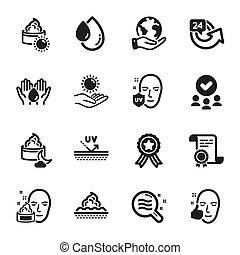 ikony, 24, komplet, taki, hours., warunek, troska, piękno, skóra, wektor