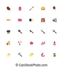 ikony, bbq, plik, komplet