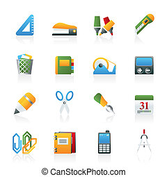 ikony, biuro, handlowy przytacza