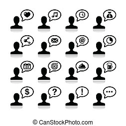 ikony, czarnoskóry, komunikacja, komplet, użytkownik