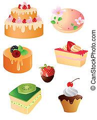 ikony, deser, słodki, komplet