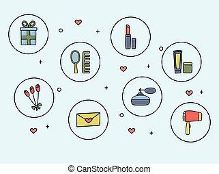 ikony, doodle, przybory, ilustracja, ręka, wektor, kosmetyki, pociągnięty, style., kobiety