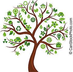 ikony, drzewo 3, -, ekologiczny